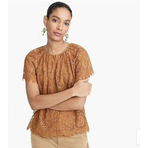 New J. Crew Women's Short Sleeve Lace Top S Small